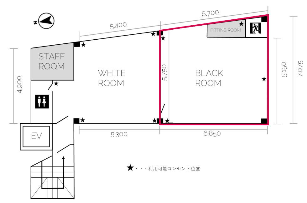 黒ホリゾント(黒い部屋)のフロアマップ(イラスト)
