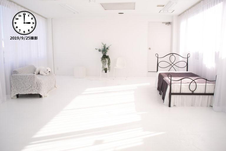 大阪の撮影スタジオでPM3:00~PM4:00の自然光(2019年9月25日時点)の写真1