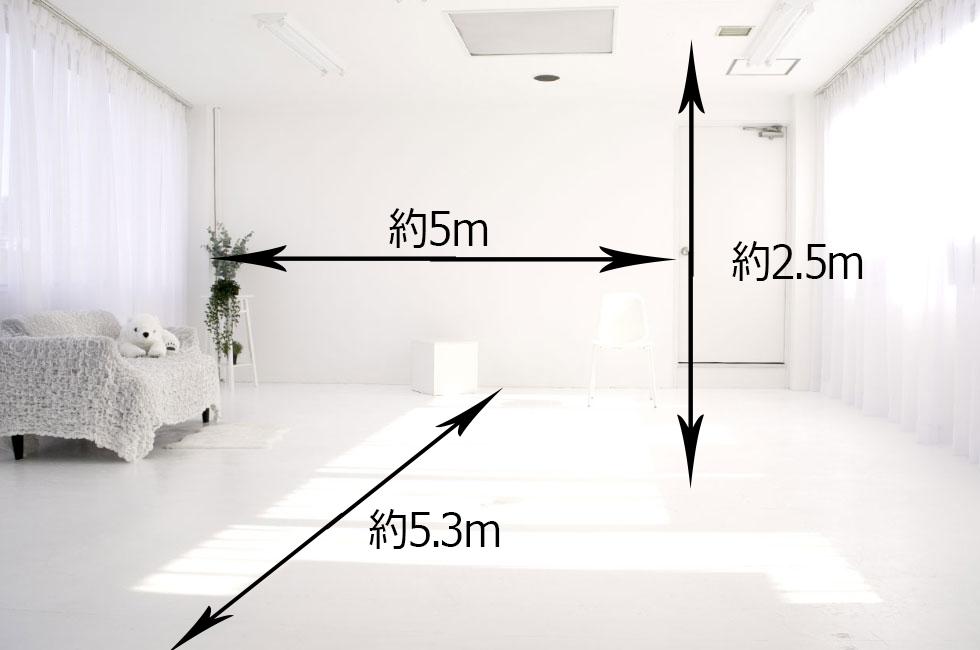 白ホリゾント(白い部屋)のフロアガイド(写真)
